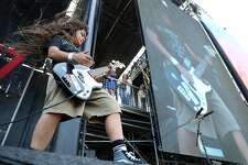 The Helmets' Tye Trujillo, the 12-year-old son of Metallica bassist Robert Trujillo, performs during BottleRock Napa Valley in Napa, Calif., on Sunday, May 28, 2017.