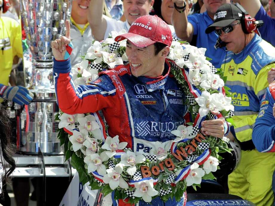 Takuma Sato, of Japan, celebrates winning the Indianapolis 500 auto race at Indianapolis Motor Speedway, Sunday in Indianapolis. Photo: Darron Cummings, STF / Copyright 2017 The Associated Press. All rights reserved.