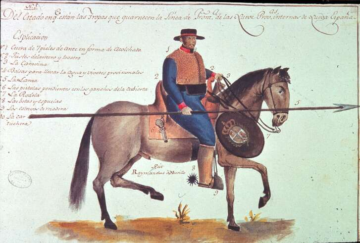 """Ramón de Murillo, an officer in the presidio service, proposed a complete reform of the frontier defense system at the beginning of the nineteenth century. As part of his proposal he made this now well-known sketch of a presidio soldier. A full explanation of the image along with the proposal can be found in Jesús F. de la Teja, intro., """"Ramón de Murillo's Plan for the Reform of New Spain's Frontier Defenses,"""" Southwestern Historical Quarterly 107, no 4 (2004): 501-33."""