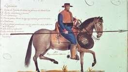 "Ramón de Murillo, an officer in the presidio service, proposed a complete reform of the frontier defense system at the beginning of the nineteenth century. As part of his proposal he made this now well-known sketch of a presidio soldier. A full explanation of the image along with the proposal can be found in Jesús F. de la Teja, intro., ""Ramón de Murillo's Plan for the Reform of New Spain's Frontier Defenses,"" Southwestern Historical Quarterly 107, no 4 (2004): 501-33."