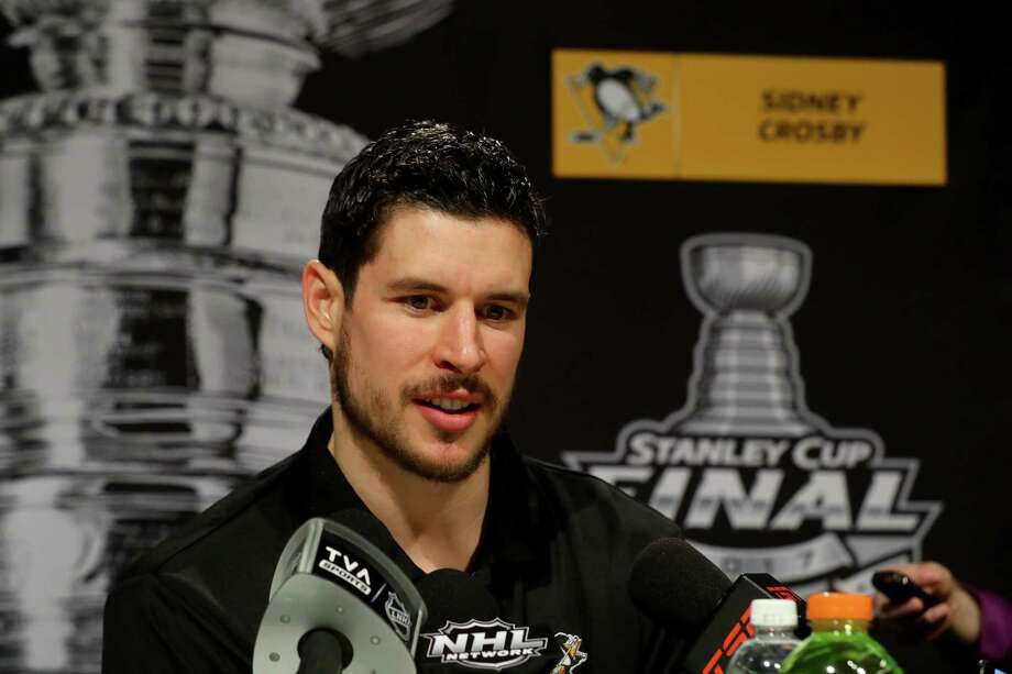 PITTSBURGH, PA - MAY 28:  Sidney Crosby #87 of the Pittsburgh Penguins answers questions during Media Day for the 2017 NHL Stanley Cup Final at PPG PAINTS Arena on May 28, 2017 in Pittsburgh, Pennsylvania.  (Photo by Bruce Bennett/Getty Images) Photo: Bruce Bennett, Staff / 2017 Getty Images