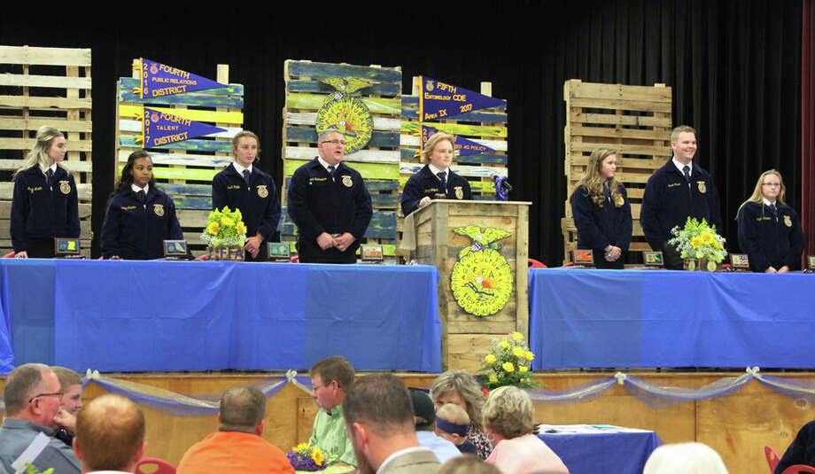 The 2016-17 Coldspring FFA officers opened their last meeting of the year at the Coldspring FFA Chapter Awards Banquet on May 9. Photo: Submitted