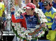 Takuma Sato, of Japan, celebrates winning the Indianapolis 500 auto race at Indianapolis Motor Speedway, Sunday, May 28, 2017 in Indianapolis. (AP Photo/Darron Cummings) ORG XMIT: NAA156