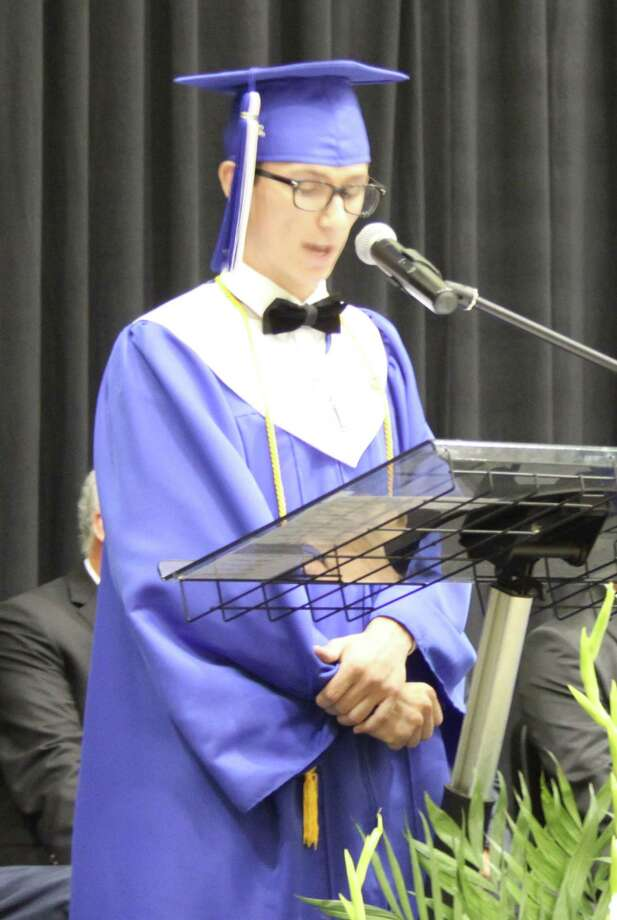 Chase Watson delivers the Salutatorian Address and encourages his fellow graduates to focus on their goals and to treasure their opportunities. Photo: Jacob McAdams