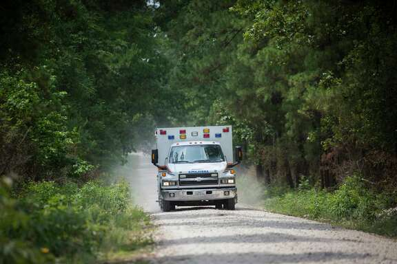 The ambulance transporting Ezra, the three-year-old child that went missing at the Sam Houston National Park, Sunday, May 28, 2017, in Waverly. ( Marie D. De Jesus / Houston Chronicle )