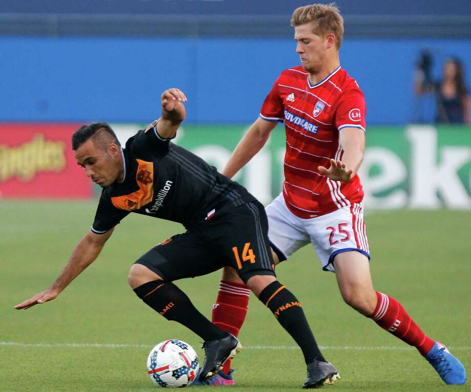 FC Dallas defender Walker Zimmerman (25) competes with Houston Dynamo midfielder Alex (14) for a play on the soccer ball during the first half as FC Dallas hosted Houston Dynamo at Toyota Stadium in Frisco on Sunday, May 28, 2017. Photo: Stewart F. House, Special Contributor / Stewart F. House Photography