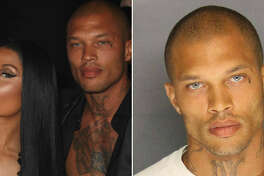 (Left) Nicki Minaj and Jeremy Meeks attend the amfAR Gala Cannes 2017 at Hotel du Cap-Eden-Roc on May 25, 2017 in Cap d'Antibes, France. (Right) Jeremy Meeks' mugshot from his 2014 felony weapons charges.