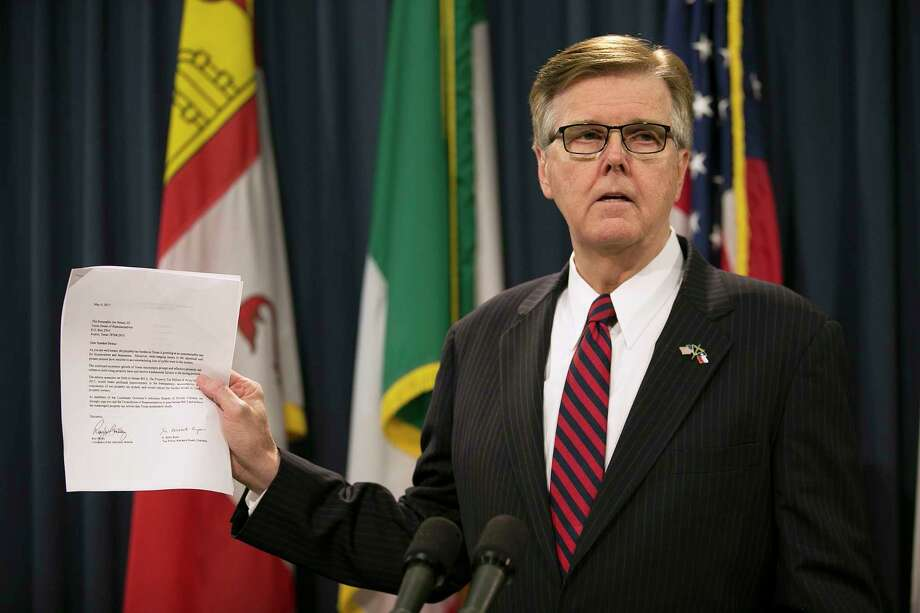 Lt. Governor Dan Patrick holds up a letter supporting real estate tax relief during a news conference at the Capitol in Austin, Texas, on Wednesday, May 17, 2017. Lt. Gov. Patrick issued an ultimatum to the Texas House on Wednesday, saying he must see passage of two of his priorities — property tax relief and limits on transgender-friendly bathroom policies — before the Senate will act on key legislation to keep some state agencies operating. Patrick also said if the House fails to pass either priority, he will press Gov. Greg Abbott to call as many special sessions as necessary to gain approval. (Deborah Cannon/Austin American-Statesman via AP) Photo: Deborah Cannon, MBO / Stratford Booster Club