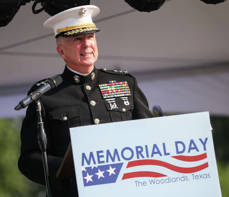 Retired Marine Corps Lt. Gen. Steven Hummer gives the keynote speech during the Memorial Day Festival on Sunday, May 28, 2017, at Town Green Park in The Woodlands. Photo: Michael Minasi, Staff Photographer / © 2017 Houston Chronicle