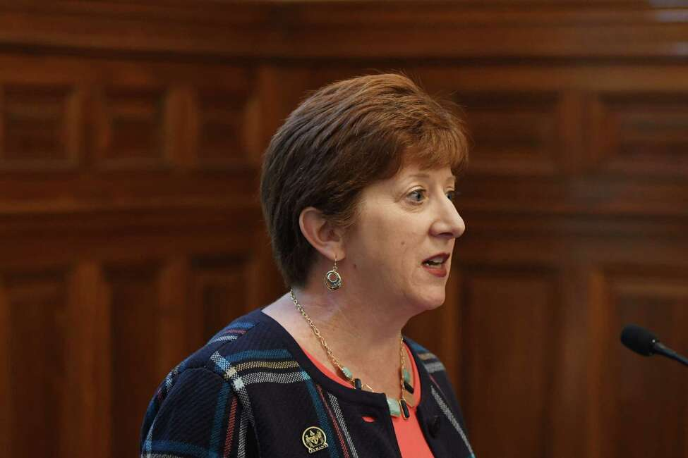 Albany Mayor Kathy Sheehan delivers her 2017 budget proposal on Monday, Oct. 3, 2016, at the City Hall in Albany, N.Y. (Will Waldron/Times Union)