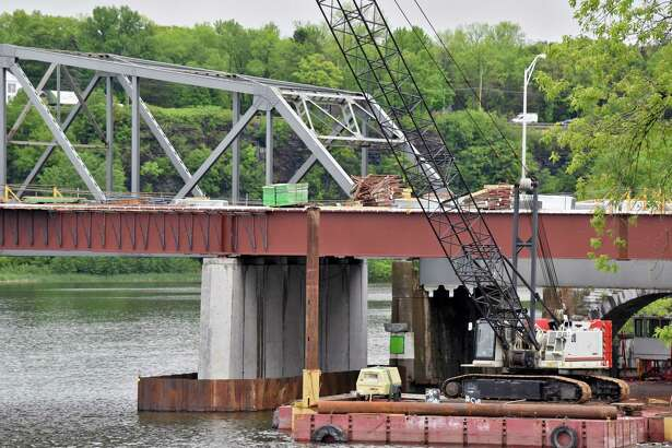 Work continues on a new Rexford Bridge on State Route 146 over the Mohawk River between Clifton Park and Niskayuna, Friday May 26, 2017 in Niskayuna, NY.   (John Carl D'Annibale / Times Union)