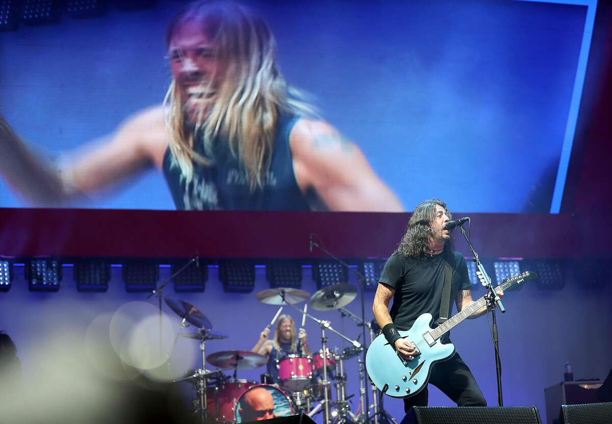 Dave Grohl and Taylor Hawkins of the Foo Fighters performs during BottleRock Napa Valley in Napa, Calif., on Sunday, May 28, 2017.