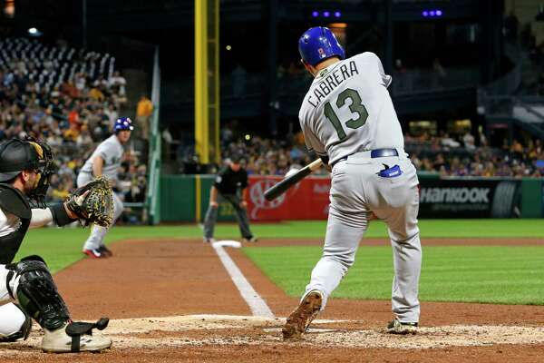 New York Mets' Asdrubal Cabrera (13) drives in two runs with a double off Pittsburgh Pirates starting pitcher Tyler Glasnow (24) in the fourth inning of a baseball game in Pittsburgh, Sunday, May 28, 2017. (AP Photo/Gene J. Puskar) ORG XMIT: PAGP109