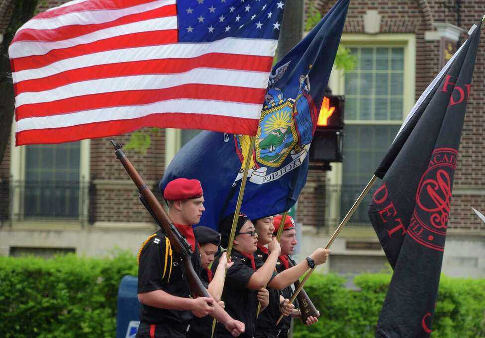 Members of the Albany Academies Cadet Corps march in the Albany Memorial Day Parade on Monday, May 29, 2017, in Albany, N.Y. (Paul Buckowski / Times Union)