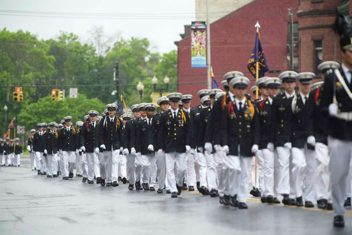 Students from the Christian Brothers Academy march down Central Ave. in the Albany Memorial Day Parade on Monday, May 29, 2017, in Albany, N.Y. (Paul Buckowski / Times Union)