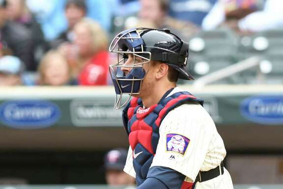 Minnesota Twins' Jason Castro iduring the first game of a baseball doubleheader against the Kansas City Royals  Sunday, May 21, 2017, in Minneapolis. (AP Photo/Tom Olmscheid)