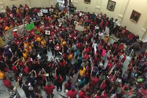 "Protesters gather in the Texas Capitol on Monday, May 29, 2017 to protest the ""sanctuary cities"" law."