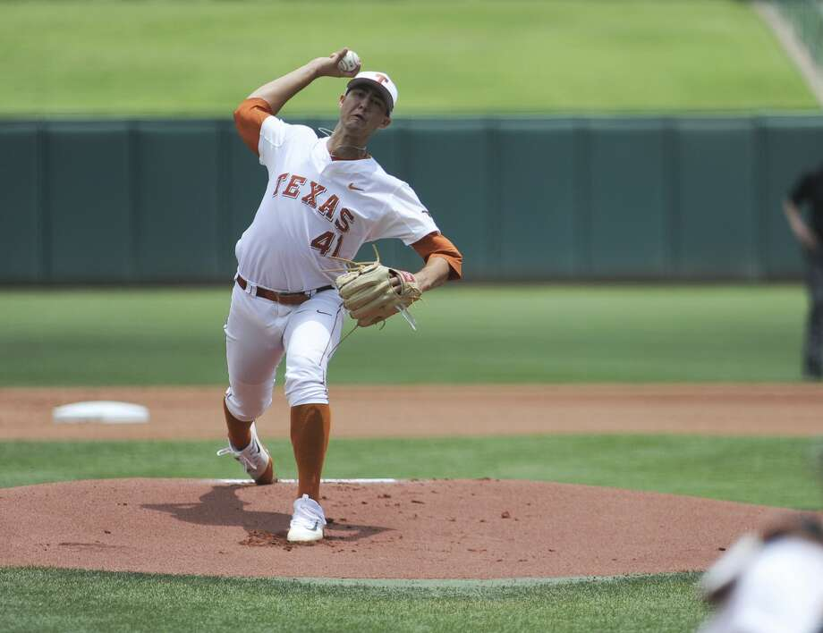 Texas' Morgan Cooper pitches the ball in the championship game in the Big 12 baseball tournament in Oklahoma City, Sunday, May 28, 2017. (AP Photo/Kyle Phillips) Photo: Kyle Phillips/Associated Press