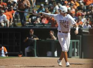 Texas' Kacy Clemens celebrates after scoring a run in the championship game in the Big 12 baseball tournament in Oklahoma City, Sunday, May 28, 2017. (AP Photo/Kyle Phillips)