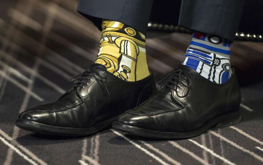 Canada's Prime Minister Justin Trudeau's Stars Wars-themed socks are seen as he meets with his Irish counterpart Enda Kenny Thursday, May 4, 2017, in Montreal. (Paul Chiasson/The Canadian Press via AP) Photo: Paul Chiasson, Associated Press