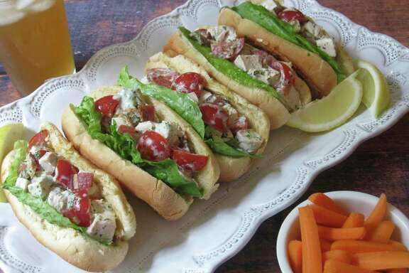 The trick to chicken salad, such as in these sandwiches, is not overcooking the white-meat chicken.