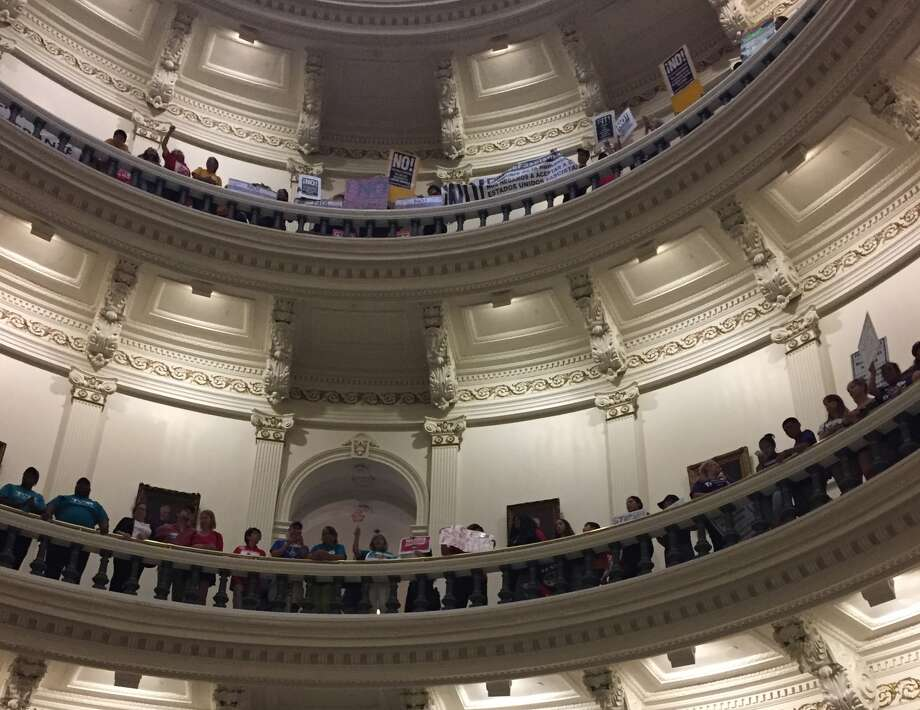 """Protesters gather in the Texas Capitol on Monday, May 29, 2017 to protest the """"sanctuary cities"""" law. Photo: Andrea Zelinski, Houston Chronicle"""