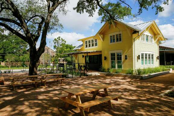 "The restaurant is inside the ""Little Yellow House"" at Evelyn's Park."