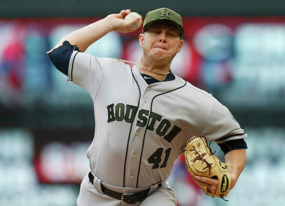 Houston Astros pitcher Brad Peacock throws against the Minnesota Twins in the first inning of a baseball game Monday, May 29, 2017, in Minneapolis. (AP Photo/Jim Mone) Photo: Jim Mone, Associated Press / Copyright 2017 The Associated Press. All rights reserved.