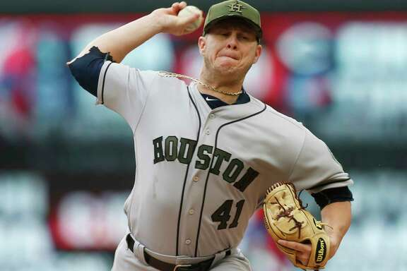 Houston Astros pitcher Brad Peacock throws against the Minnesota Twins in the first inning of a baseball game Monday, May 29, 2017, in Minneapolis. (AP Photo/Jim Mone)