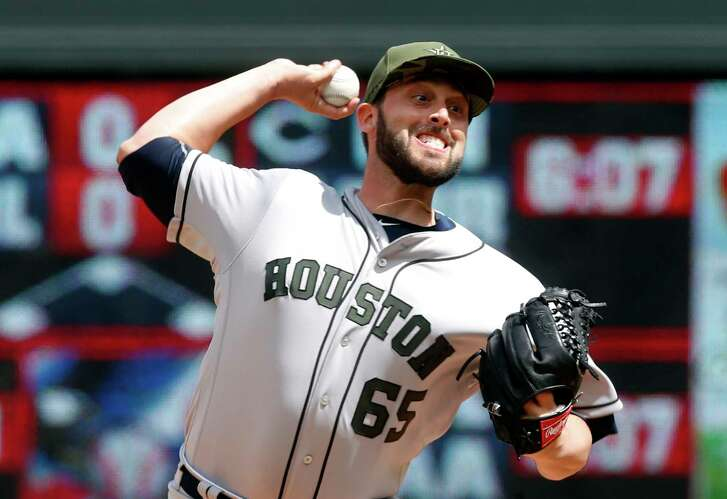 Houston Astros pitcher Jordan Jankowski throws against the Minnesota Twins in relief of starter Brad Peacock in the fifth inning of a baseball game Monday, May 29, 2017, in Minneapolis. (AP Photo/Jim Mone)