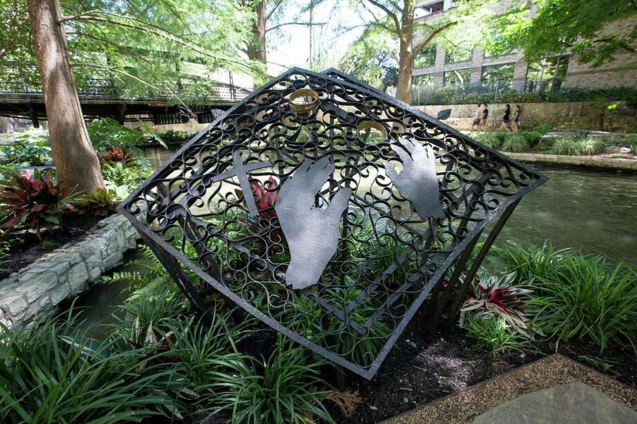 """The wrought-iron sculpture, """"Padre Damian Massanet's Table,"""" by San Antonio artist Rolando Briseño, commemorates the city's first Catholic Mass by Father Damian Massanet, a Franciscan friar who accompanied the first Spanish explorers to reach the river, in 1691. It was erected in 1991 for the 300th anniversary. Photo: Frederick Gonzales /City Of San Antonio / courtesy City of San Antonio"""