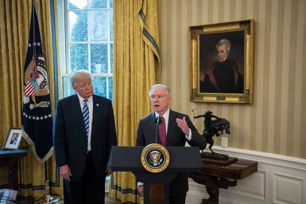President Donald Trump and Attorney General Jeff Sessions at the White House on Feb. 9. Sessions has ordered a review of agreements to reform police departments, signaling his skepticism of efforts to curb civil rights abuses by law enforcement officers.