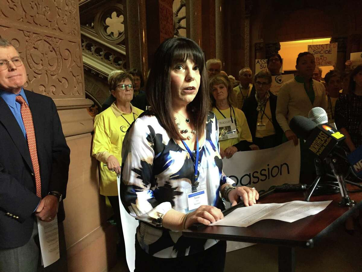 Susan Rahn, a terminal breast cancer patient from Rochester, discusses her support of medical aid in dying at the state Capitol in Albany, N.Y., Tuesday, May 9, 2017. (Matthew Hamilton/Times Union)