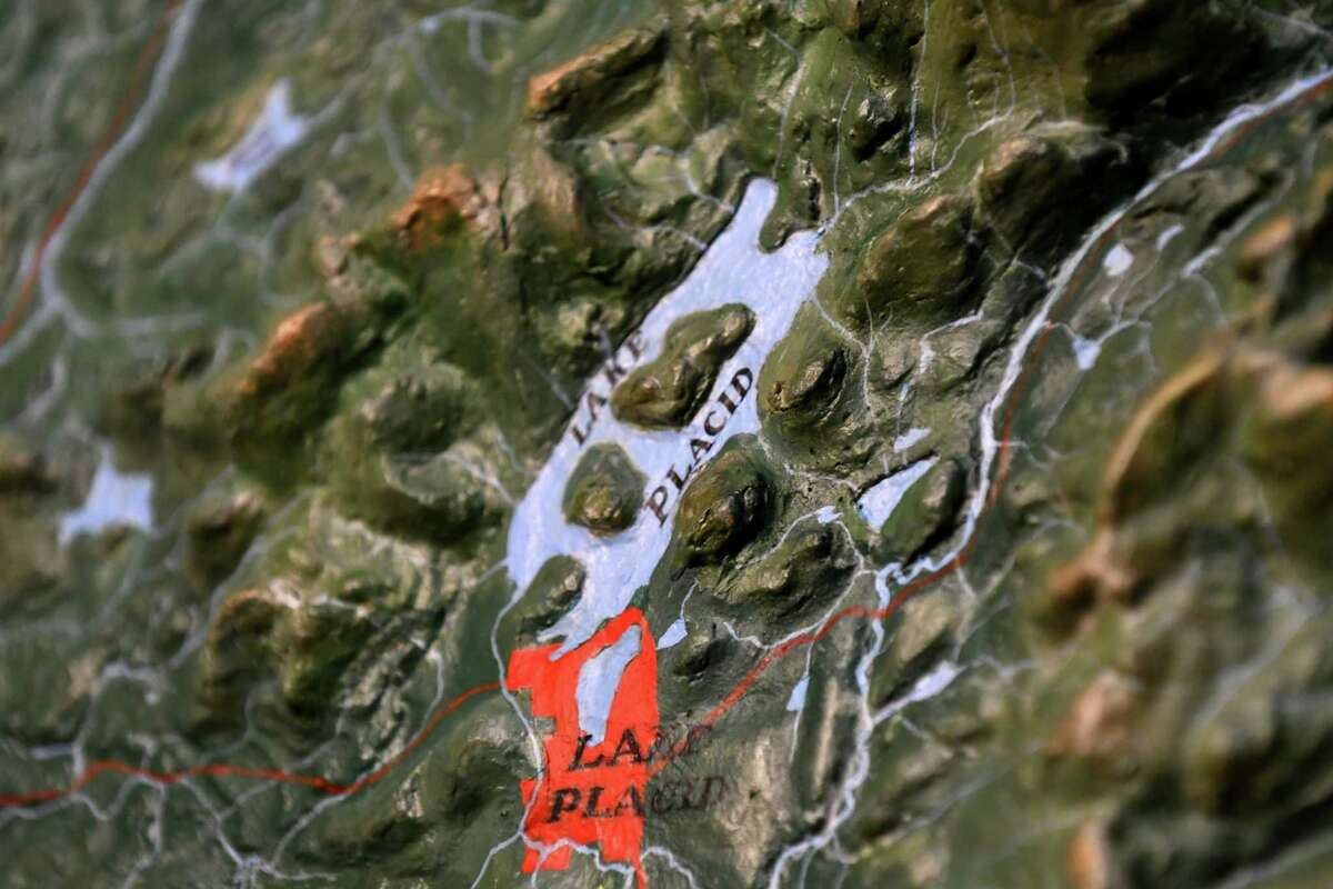 Detail of the large topographic map of the Adirondacks displayed at the Kelly Adirondack Center on Thursday, May 25, 2017, in Niskayuna, N.Y. (Will Waldron/Times Union)