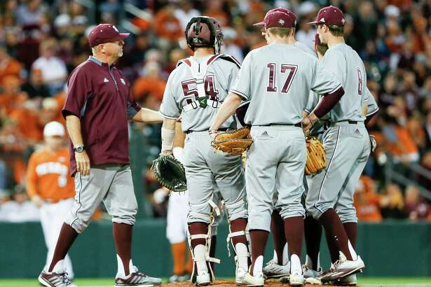 Texads A&M coach Rob Childress pulls staring pitcher John Doxakis in a nonconference game against Texdas at UFCU Disch-Falk Field in Austin on March 14, 2017.