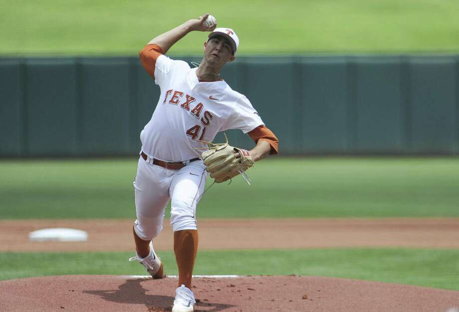 Texas' Morgan Cooper pitches during the Big 12 tournament championship game against Oklahoma State at Oklahoma City on May 28, 2017. Photo: Kyle Phillips /Associated Press / AP2017
