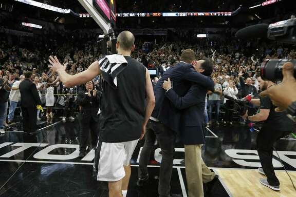"Manu Ginobili walks off the court after Game 4 of the Western Conference finals against the Warriors. ""He's just as good a person as he is a player,"" Brown said."