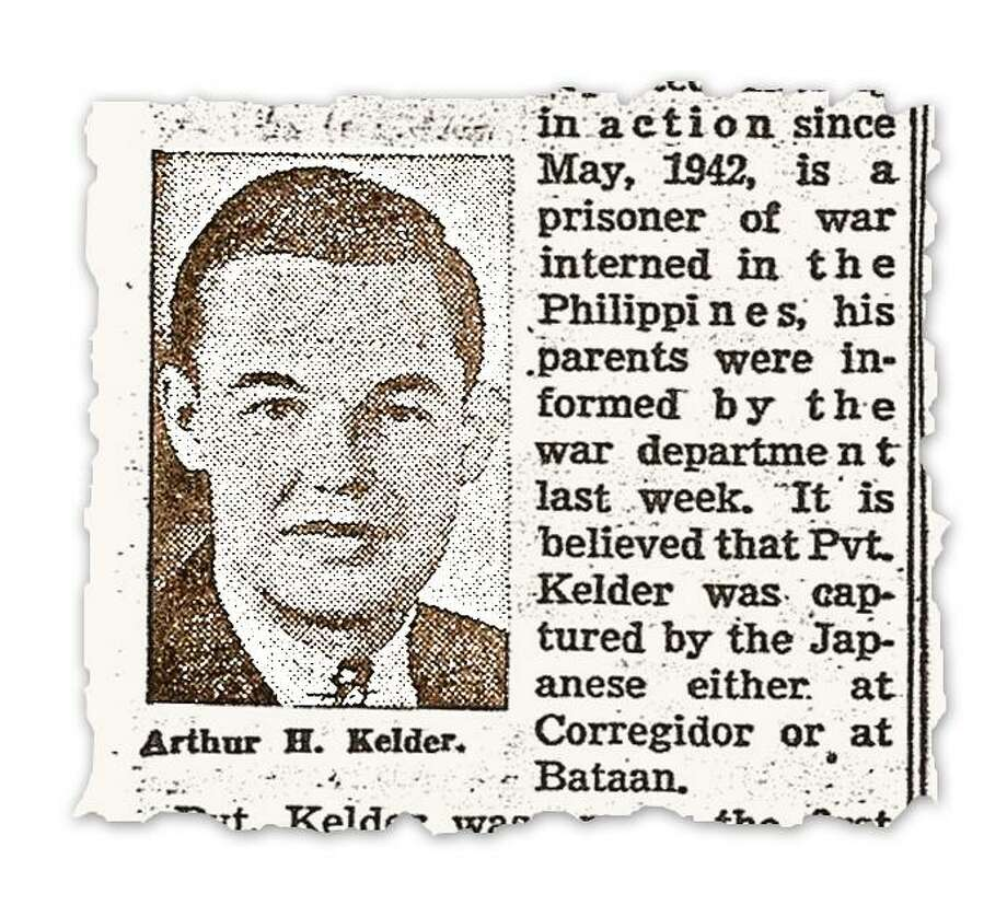 """Clip from unknown local newspaper in 1942 about Kelder being a prisoner of the Japanese. courtesy photo images for daily story slugged Bataan_Missing of Army Pvt. Arthur """"Bud"""" Kelder, who survived the Bataan Death March but died as a Japanese prisoner; his family is trying to have his remains recovered from a grave in the Philippines and reinterred in his family mausoleum in Chicago. Photo: COURTESY PHOTO / COURTESY PHOTO"""