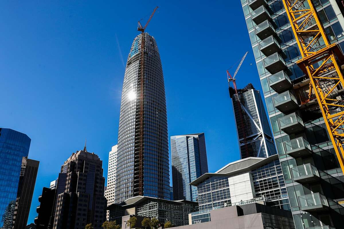 Salesforce Tower is seen from the Transbay Transit Center in San Francisco, California, on Wednesday, May 17, 2017.