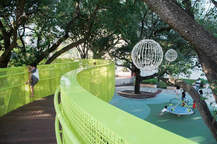 The tree placement might have found the perfect balance of  shade and open sky, making Levy Park now one of Houston's best outdoor  public spaces. Photo: Janet Ni
