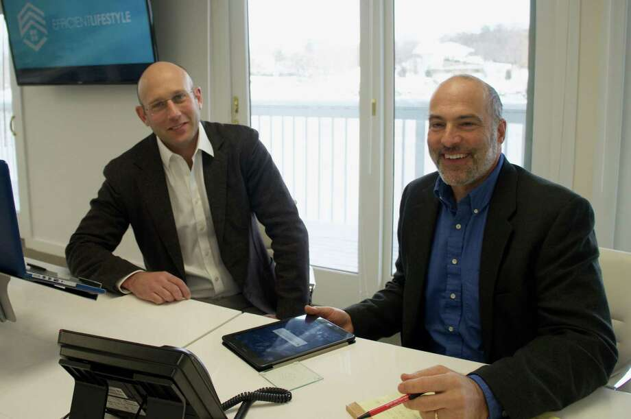 Westport residents Tye Schlegelmilch, left, and Bill Green started a home management site called Hinged.com in February. The platform allows homeowners to manage, schedule and pay for home repairs and maintenance. Photo: Contributed Photo