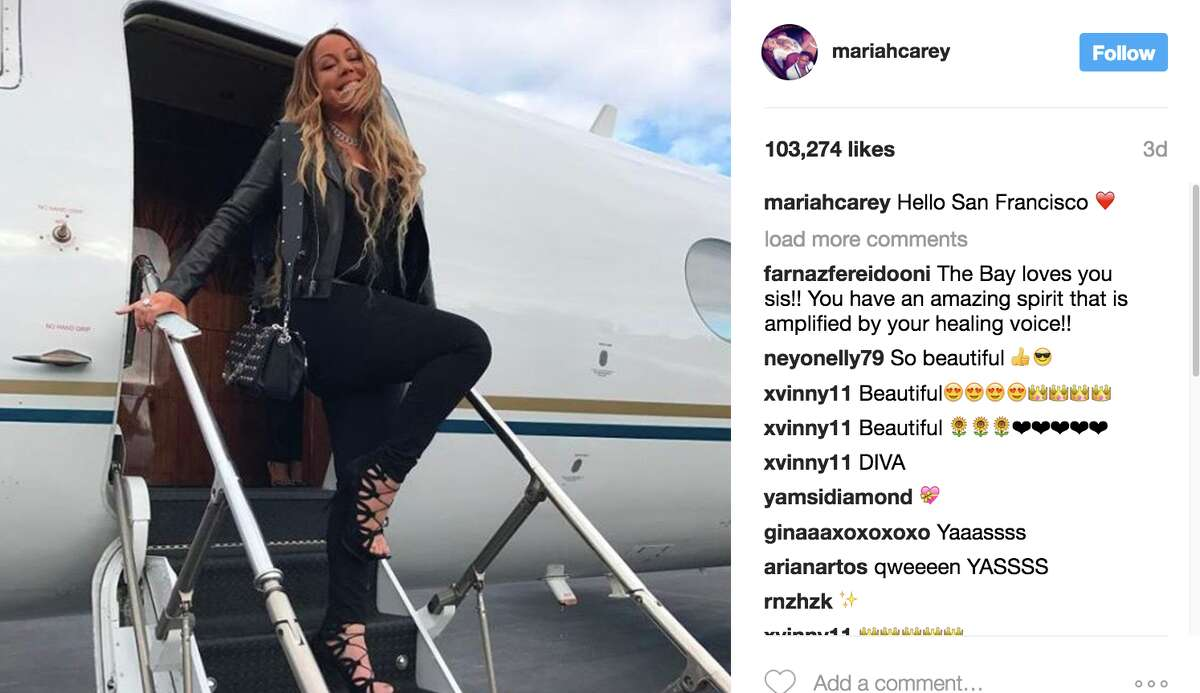 Carey landed in San Francisco in a private plane. Jeff Beacher, CEO of Beacher's Media Group, appears to have arrived with her.