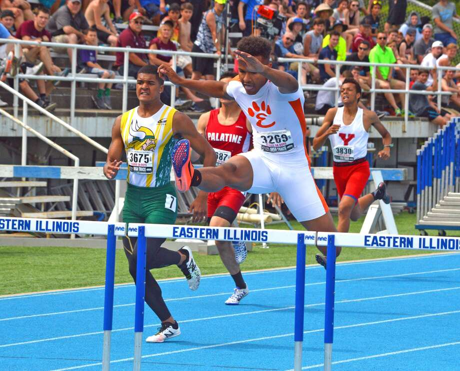 Edwardsville senior  Travis Anderson competes in the 300-meter hurdles on Saturday in the finals of the Class 3A state meet at O'Brien Stadium in Charleston.