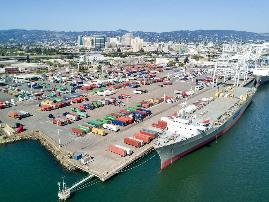 A ship docks at the Howard Terminal, one of the sites under consideration for a new Oakland Athletics baseball stadium, on Saturday, May 27, 2017, in Oakland, Calif. Photo: Noah Berger / Special To The Chronicle