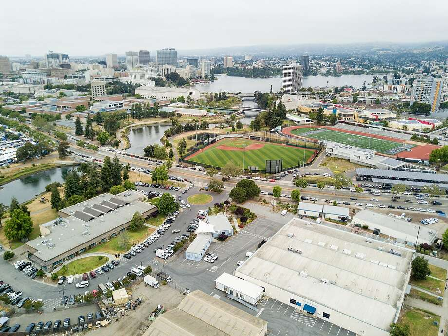 Buildings line the Peralta Community College District offices, one of the sites under consideration for a new Oakland Athletics stadium in Oakland. Photo: Noah Berger, Special To The Chronicle