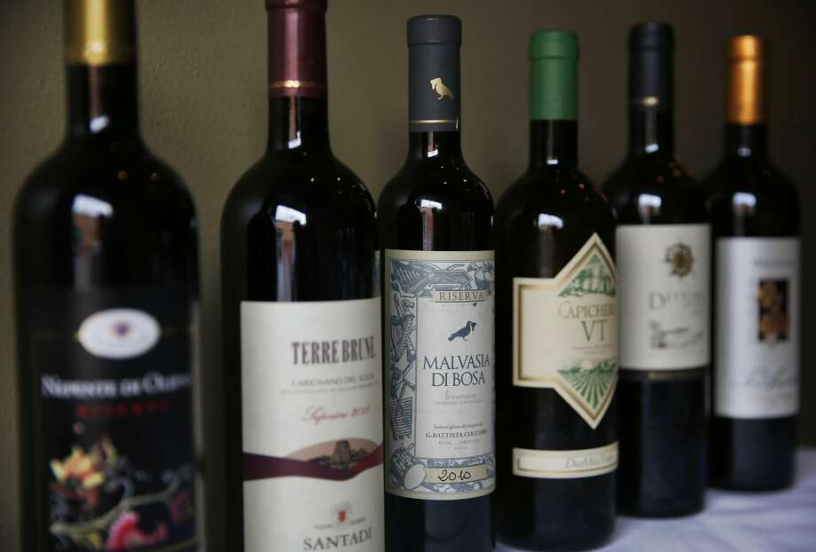 A selection of some of the wines hand-picked by La Ciccia owners Massimiliano Conti and Lorella Degan. Photo: Leah Millis, The Chronicle