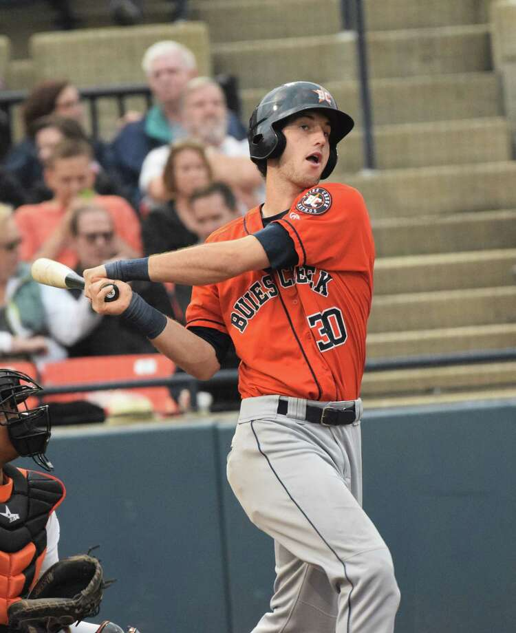Astros prospect Kyle Tucker in a 2017 game with the Buies Creek Astros of the Carolina League. Photo: Courtesy Buies Creek Astros