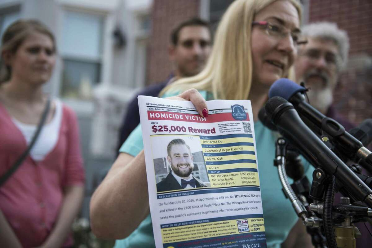 """Mary Rich, the mother of slain DNC staffer Seth Rich, at a news conference in August. The family was demanding that Fox News retract stories, saying it """"impugned and destroyed Seth Rich's legacy through careless reporting."""""""