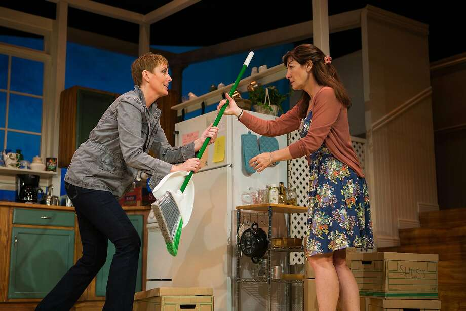 "Robyn (Julia Brothers,left) offers to clean while moving in with new roommate Sharon (Susi Damilano) in ""The Roommate."" Photo: Jessica Palopoli, San Francisco Playhouse"