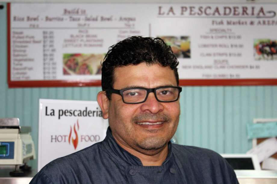 Rafael Marin, owner of the newly designed La Pescaderia Fish Market and Arepas on East Avenue, New Canaan, Conn., on May 30, 2017. Photo: Justin Papp / Hearst Connecticut Media / New Canaan News